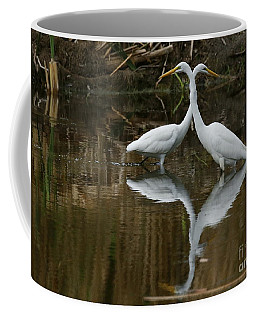 White Egrets On Watch Coffee Mug by Myrna Bradshaw