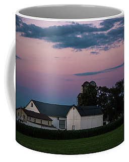 White Farm With Pink Sky Coffee Mug