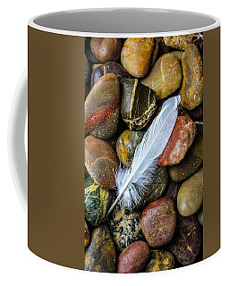 White Feather On River Stones Coffee Mug