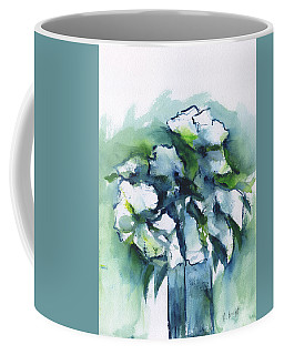 Coffee Mug featuring the painting White Flowers Abstract by Frank Bright
