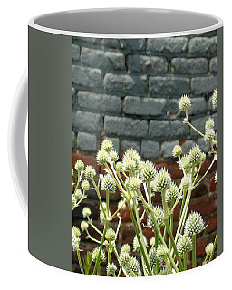 White Flowers And Bricks Coffee Mug by Susan Lafleur