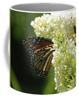 White Flowers W19 And Monarch Butterfly Coffee Mug