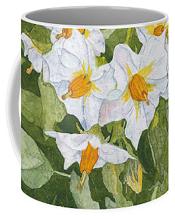 White Garden Blossoms Watercolor On Masa Paper Coffee Mug