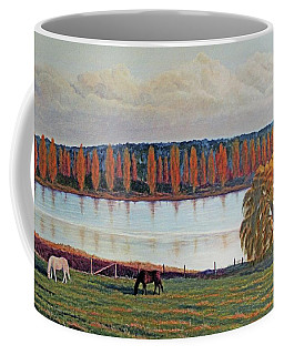 Coffee Mug featuring the painting White Horse Black Horse by Laurie Stewart