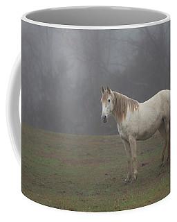White Horse In Fog Coffee Mug