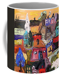 White Horse In The Village Field Coffee Mug by Mary Carol Williams