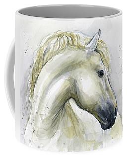 White Horse Watercolor Coffee Mug