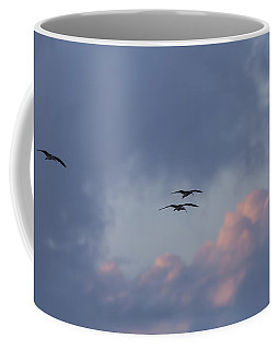 White Ibis In Flight At Sunset Coffee Mug