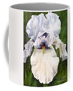 Coffee Mug featuring the painting White Iris by Laurie Rohner