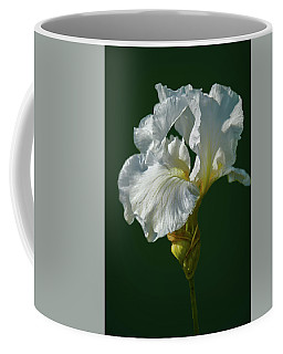 White Iris On Dark Green #g0 Coffee Mug