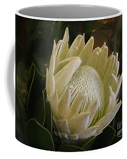 Coffee Mug featuring the photograph White King Protea By Kaye Menner by Kaye Menner