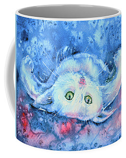 White Kitten  Coffee Mug by Zaira Dzhaubaeva