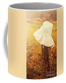 White Knitted Hat On Farm Fence Coffee Mug