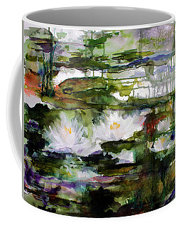 White Lilies On Black Water Wetland Coffee Mug
