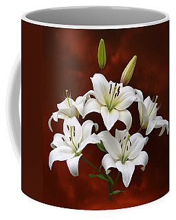 White Lilies On Red Coffee Mug by Jane McIlroy