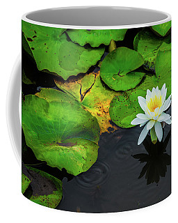White Lily And Rippled Water Coffee Mug