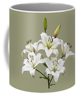 White Lilies Illustration Coffee Mug