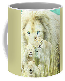 Coffee Mug featuring the mixed media White Lion Family - Forever by Carol Cavalaris