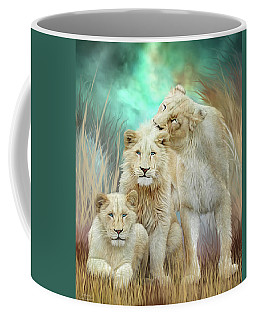 Coffee Mug featuring the mixed media White Lion Family - Mothering by Carol Cavalaris