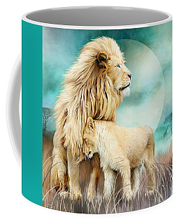 Coffee Mug featuring the mixed media White Lion Family - Protection by Carol Cavalaris