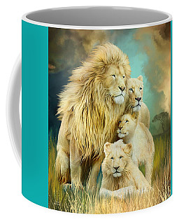 Coffee Mug featuring the mixed media White Lion Family - Unity by Carol Cavalaris