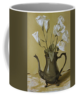 White Lisianthus In Silver Coffeepot Coffee Mug