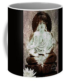 Coffee Mug featuring the digital art White Lotus Buddha - Brown by Absinthe Art By Michelle LeAnn Scott