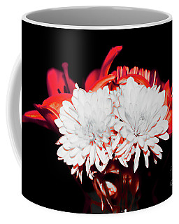White Mums And Red Lilies Coffee Mug