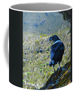 Coffee Mug featuring the photograph White-necked Raven Cliff-side by Jeff at JSJ Photography