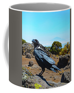 White-necked Raven Overlooking Mount Meru Coffee Mug