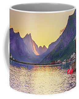 Coffee Mug featuring the photograph White Night In Reine by Dmytro Korol