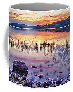 Coffee Mug featuring the photograph White Night Sunset On A Swedish Lake by Dmytro Korol