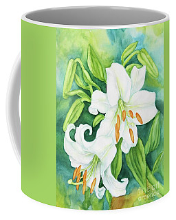 White Oriental Lilies Coffee Mug