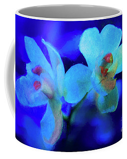 Coffee Mug featuring the digital art White Painted Orchids by Darleen Stry