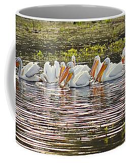 White Pelican Parade Coffee Mug
