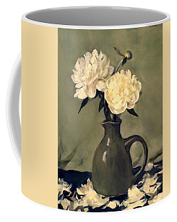 White Peonies In Small Green Pitcher Coffee Mug