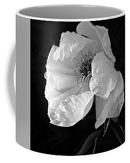 White Peony After The Rain In Black And White Coffee Mug by Gill Billington