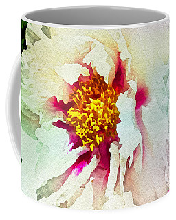 Coffee Mug featuring the painting White Peony by Joan Reese