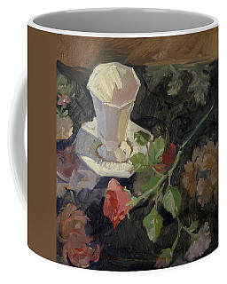 White Porcelain And Roses Coffee Mug