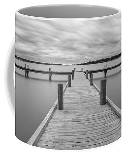 Coffee Mug featuring the photograph White Rock Lake Pier Black And White by Robert Bellomy