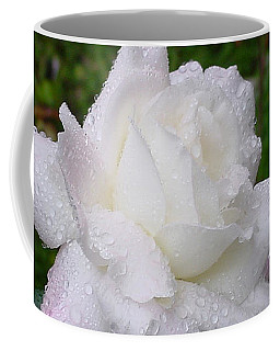White Rose In Rain Coffee Mug