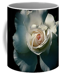 Coffee Mug featuring the photograph White Rose In The Shadows by Patricia Strand