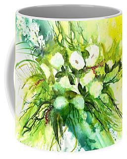 White Roses And Delphinium Coffee Mug