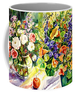 White Roses Blue Delphininums Coffee Mug