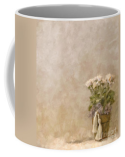 White Roses In Old Clay Pot Coffee Mug