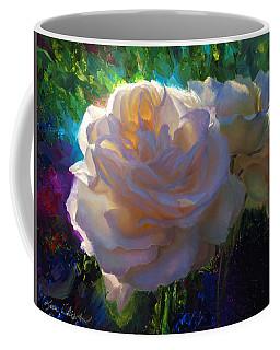 White Roses In The Garden - Backlit Flowers - Summer Rose Coffee Mug