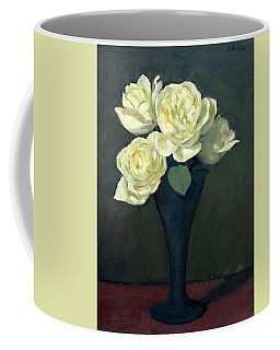 Four White Roses In Trumpet Vase Coffee Mug
