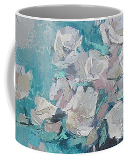 White Roses Palette Knife Acrylic Painting Coffee Mug