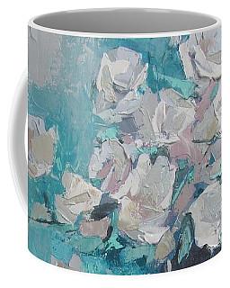 White Roses Palette Knife Acrylic Painting Coffee Mug by Chris Hobel