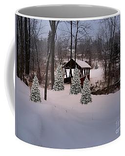 White Tailed Buck At Belmont N H Covered Bridge Coffee Mug by Mim White